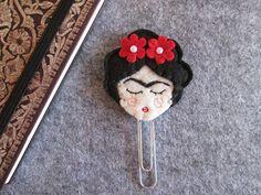 Frida Kahlo Bookmark  Frida Kahlo paper clip  by TinyFeltHeart