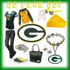 Outfit -- Green Bay Packers- MINUS the cheesehead and necklace/ bracelet (? Packers Gear, Go Packers, Packers Football, Football Baby, Football Season, Greenbay Packers, Green Bay Football, Green Bay Packers Fans, Training Equipment