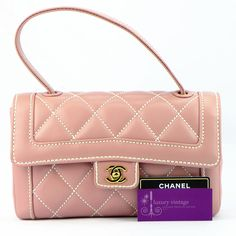 CHANEL Small Tote Pink Color Calfleather Good Condition  Ref.code-(KTKL-3) More Information Pls Email  (- luxuryvintagekl@ gmail.com )
