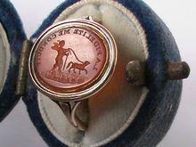 "Georgian 18K Yellow Gold Carved Carnelian Intaglio Seal Ring, ""La Fidelite Me Conduit"" Translation, ""Fidelity/Faith Leads Me""."
