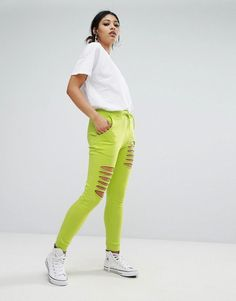Daisy Street Relaxed Joggers With Distressing - Green