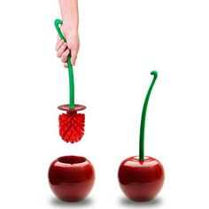 Qualy 'Cherry' Toilet Brush and Holder set in red and green