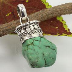 925 Sterling Silver Designer Pendant Real TIBETAN TURQUOISE Gemstone ! Wholesale #Unbranded #Pendant