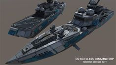 Technically unarmed, the Command Ship only bears 4 point defense weapons in the form of SeaRAM stations, but has a Helipad that can support a single Helicopter. It also buffs the stats of any nearb. Spaceship Design, Spaceship Concept, Concept Ships, Military Gear, Military Vehicles, E Boat, Future Weapons, Sci Fi Ships, Futuristic Cars