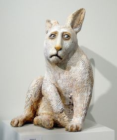 "Elizabeth Ostrander, ""Sorrow of the White Rabbit,"" ceramic, Pottery Animals, Ceramic Animals, Clay Animals, Ceramic Studio, Ceramic Clay, Animal Sculptures, Sculpture Art, Statues, Rabbit Art"