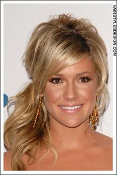 Details:  Hair Style: This is a great look as Kristin Cavallari has her long thick hair styled into this off to the side ponytail. There is lots of volume to this hairstyle as Kristin has her hair built up high at back. Bangs come down onto the forehead while at back, her long curly hair has been gathered together for this style.