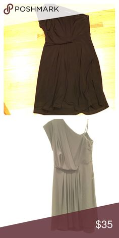 BCBG one shouldered dress Gorgeous dress for cocktail parties, dinner, nights out. One shoulder with seem at waist for definition, so very flattering. Top is a little drapey. BCBG Dresses One Shoulder