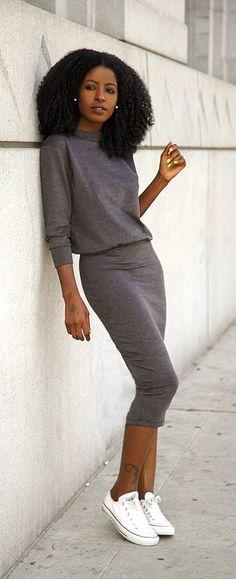 Sweatshirt Midi Dress / Style Pantry #streetstyle