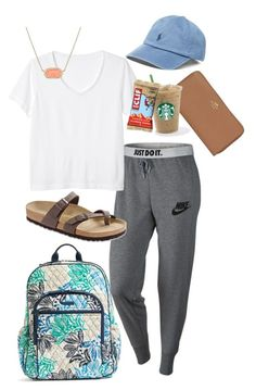 """Airport vibes"" by showyourlilly on Polyvore featuring NIKE, Monki, Birkenstock, Kendra Scott, Vera Bradley, Coach and Polo Ralph Lauren"