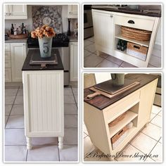 How to Transform a Vintage Desk/Console into a Kitchen Island, small space kitchen ideas, cream kitchen, Wood planked counter top.