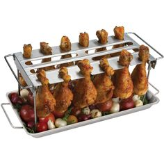 Trying to find a gift for someone that loves tailgating? This stainless steel wing rack allows users to handle chicken wings, thighs, and drumsticks without flare-ups!