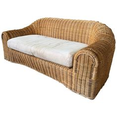 Sculptural wicker sofa in the manner of Michael Taylor or Eero Aarnio. Good vintage condition with minor imperfections consistent with age. Includes cushion (has staining) but no upholstery. Bamboo Sofa, Rattan Sofa, Vintage Sofa, Sofa Upholstery, Modern Prints, Modern Sofa, Club Chairs, Blue Fabric, Sofas