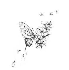 Butterfly With Flowers Tattoo, Lily Flower Tattoos, Butterfly Tattoo Designs, Butterflies, Cute Tiny Tattoos, Small Tattoos, Tattoo Drawings, Body Art Tattoos, Betta Fish Tattoo