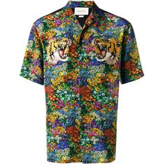 Gucci floral print bowling shirt ($1,045) ❤ liked on Polyvore featuring men's fashion, men's clothing, men's shirts, men's casual shirts, mens silk shirts, mens floral print shirts, mens bowling shirts, mens retro shirts and mens floral shirts