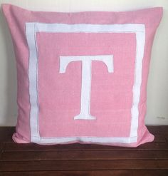 Monogram Girls Throw Pillows Pink and White by Snazzyliving
