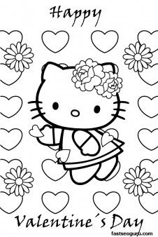 Valentines Day Hello Kitty Coloring Page With Many Hearts And Flowers Free Printable Pages