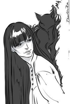 "Sketch of Mia and Mister Kindly (""Nevernight"" by Jay Kristoff) by Phantomrin http://phantomrin.tumblr.com/image/151329942830"