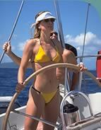 Becca Ramsey sailing the Eurus in the Southwestern Pacific. www.booksbybeck.com