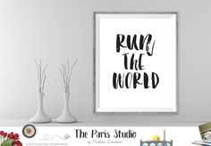Printable Art Run The World Lyrics Art Instant Download by The Paris Studio. Floral Antler Rustic Wall Art Instant download printable art is great for office or home wall art, nursery decor, inspiration or gifts to you