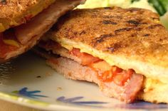 I'd Much Rather Bake Than...: Cheese, Tomato and Bacon Eggy Bread Sandwich for British Sandwich Week or Savoury French Toast