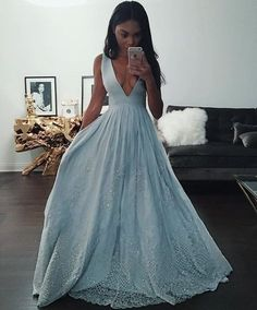 Deep V neck Light Blue A-line Long Vintage Evening Dress 2017 Prom Dress, PS292