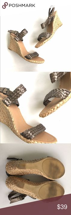 Braided metallic natural wedges Gently used, I believe I wore them once. Size 11.     •no trades•no offsite transactions•no low balls•offers considered through the offer feature only!•save when you bundle• Shoes Wedges