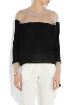 Stella McCartney | Two-tone silk and mesh sweater | NET-A-PORTER.COM