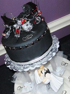 Wedding Biker Cake, #motorcycle Wedding Theme.