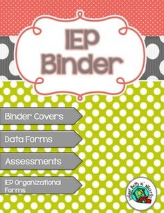 """This IEP Binder Set Includes: Binder Cover Pages: """"Data Forms"""", """"Goals & Benchmarks"""", """"Communication"""", """"Assessments"""", and """"Student Work Sample. Iep School, School Counseling, Teaching Tools, Teacher Resources, Teaching Ideas, Teacher Tips, Classroom Organization, Classroom Management, Iep Binder"""