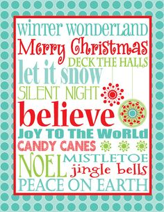 Eye Candy Event Details: {FREE Christmas Subway Art} - one of the cutest I've ever seen! Christmas Subway Art, Merry Christmas, Little Christmas, Winter Christmas, All Things Christmas, Christmas Ideas, Christmas Decorations, Christmas Fonts, Christmas Signs