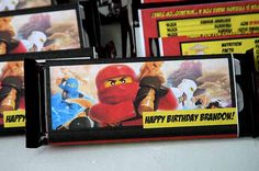 Personalized Lego Ninjago Candy Bar wrappers. Getting these for my son's party (if he chooses this theme). Super cute!