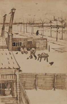 Vincent van Gogh (Dutch, 1853-1890), View from the window of Vincent's studio, 1883. Pen and ink and pencil on paper, 20.7 x 13.5 cm.