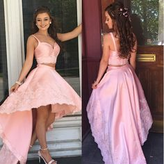 BeautyRobes Pink High-Low Prom Dresses 2018 A-Line for Girls Two Piece, 6661341 High Low Prom Dresses, V Neck Prom Dresses, Dresses Short, A Line Prom Dresses, Grad Dresses, Evening Dresses, Summer Dresses, Classy Homecoming Dress, Homecoming Dresses