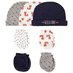 83f059c3e The Hudson Baby 7-Piece Cap and Mitten Set adds a cozy finish to your