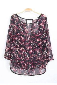 Sexy V Back Hollow-out Chiffon Blouse #sexy #floral #fashion