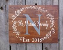 Last Name Sign, Rustic Home Decor, Wedding, Established Date, Family Established Sign, Personalized Sign, Gray, White, Dining Room Wall Art