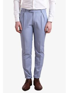 Alvin Kelly | Blue Solid Slim Fit Formal Trouser at strandofsilk.com