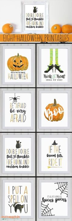 These Eight Watercolor Halloween Printables are the perfect SPOOKY addition to your fall decor.