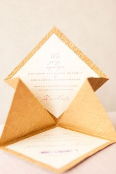 DIY Wedding Invitation by Style Me Pretty. We love how the cardstock was folded to give this invitation special flare! To score and folder cleanly, be sure to use a scoring board such like Scor-Pal for a crisp fold and professional look. Find scoring boards at great prices at www.cardstockshop.com under Tools.