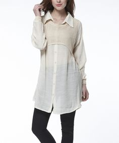 Another great find on #zulily! Simply Couture Beige Button-Up Tunic by Simply Couture #zulilyfinds