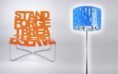 Word chair and lampshade