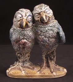 """Rare Martin Brothers Double Bird Group by MARTIN BROTHERS -only 5"""" high the brothers sold these small birds for about 8/6d up to 10 shillings AD Antiques"""