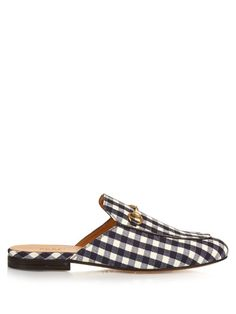Gucci Princetown gingham backless loafers