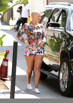 Wardrobe Query: Amber Rose's LA Guess Pink and Black Floral Hibiscus Print Silk Blouse and Shorts