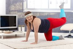 Picture of Happy young fat woman exercising at home on floor, smiling. stock photo, images and stock photography. Health 2020, Christmas Crochet Patterns, Fat Women, Body Inspiration, At Home Workouts, Plus Size Fashion, Health Fitness, Stock Photos, Sports