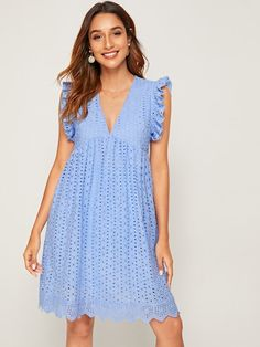 To find out about the Eyelet Embroidery Ruffle Trim Smock Dress at SHEIN, part of our latest Dresses ready to shop online today! Eyelet Dress, Smock Dress, Knit Dress, Dress Outfits, Casual Dresses, Fashion Dresses, Summer Dresses, Tight Dresses, Elegant Dresses