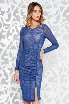StarShinerS blue dress clubbing pencil transparent fabric with print details with inside lining, print details, inside lining, tented cut, 3/4 sleeves, elastic fabric, thin fabric, transparent fabric