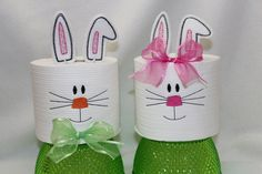 Machine Embroidered Easter Bunny Toilet Paper Set (1 male and 1 female) by SimplySusanSimon on Etsy