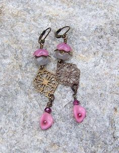 Sale Long and Dangly pink earrings Vintage glass by alanabobanna, $10.00