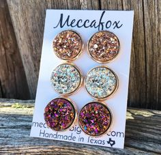 Adorable set of rose gold earrings!